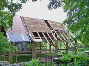 Applying roof Boards to restored timberframe in Vermont
