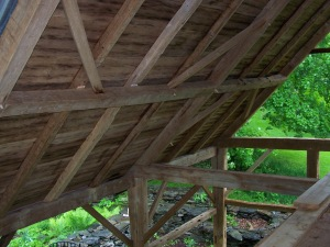 Interior Roof Structure on Gunstock Restored Timber frame
