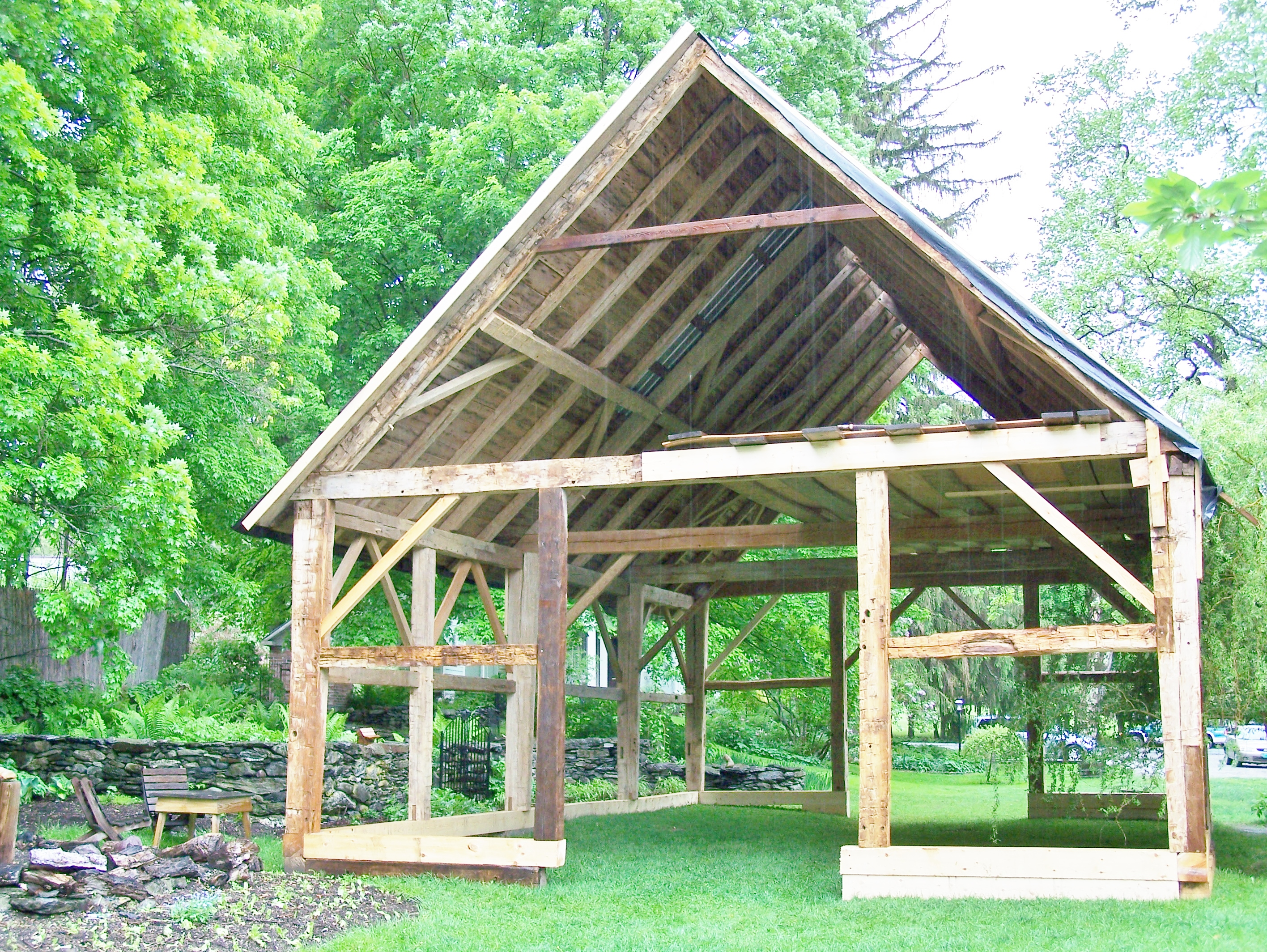 restored timber frame with roof boards