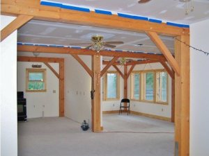 Interior timber framing in katrina house