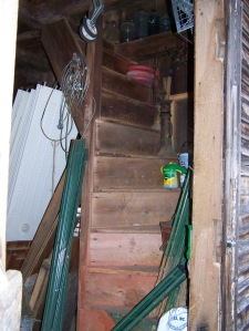 Staircase in Vermont Timber frame house