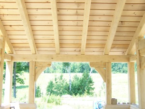Cedar Roof Slats on Timber Frame Vermont