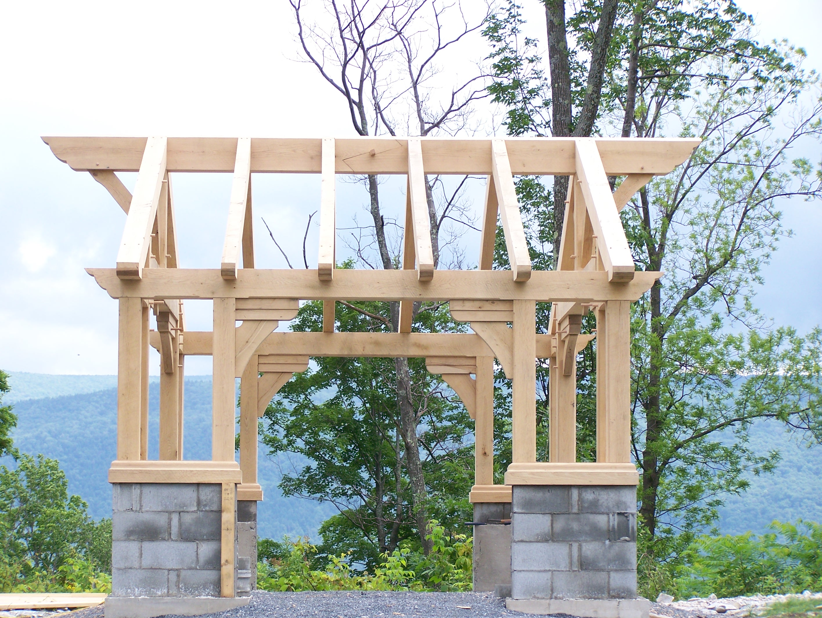 The timber frame gazebo green mountain timber frames for Pavilion style home designs