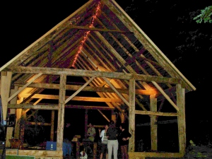 Evening under the Reclaimed Timber Frame