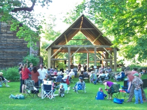 Partying and Music at Historic Timber Frame, Vermont