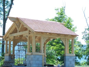 American Arts and Crafts Movement Red Cedar Roof Vermont Timberframe