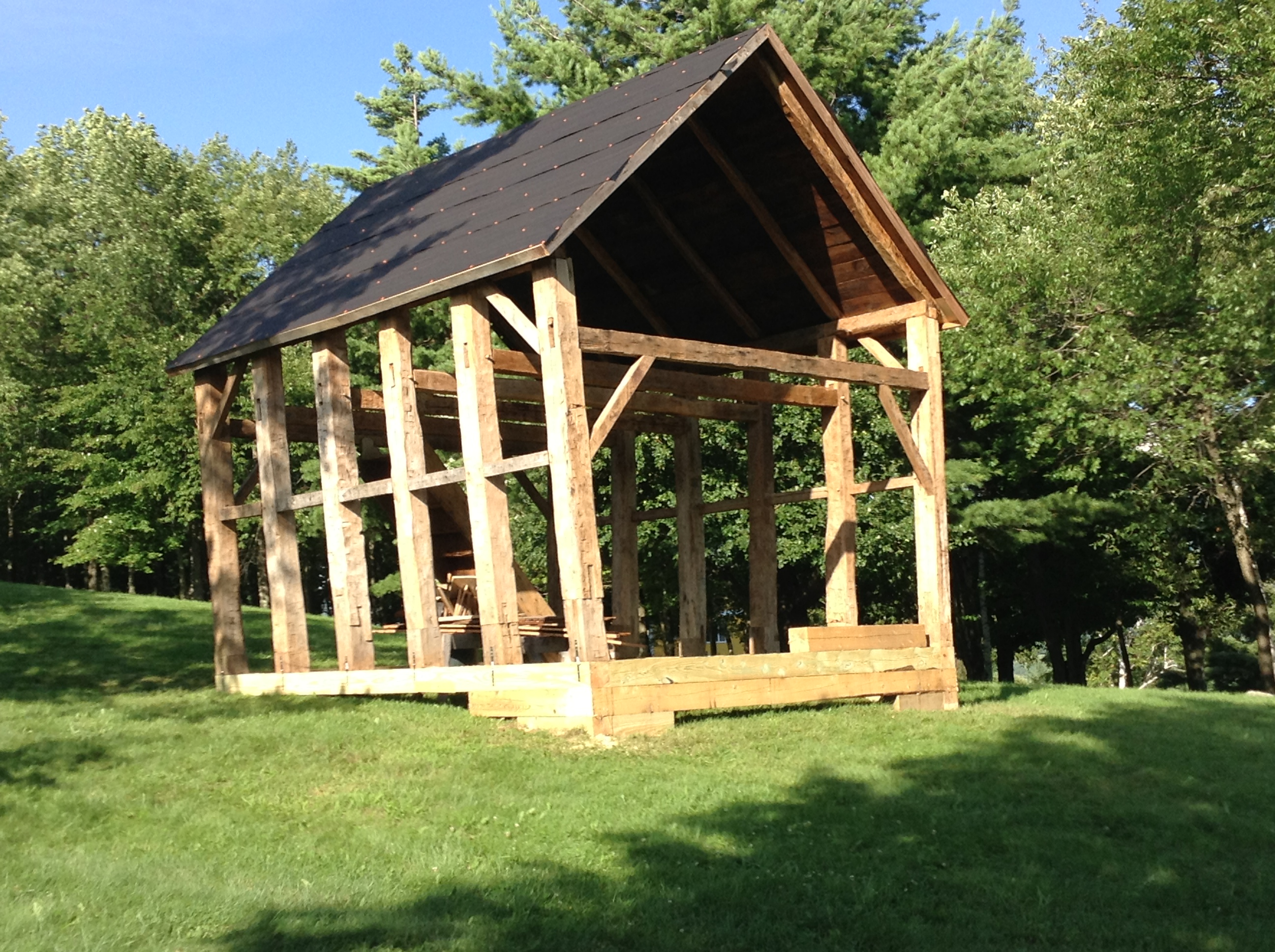 the raised timberframe with new roof boards making a perfect gazebo
