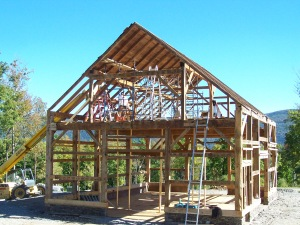 Adding Roof Boards to Manchester Vermont Timber Frame