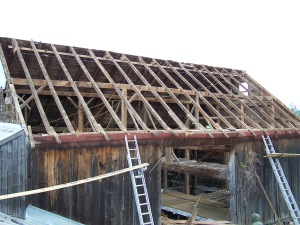 Dismantling old barn in New York