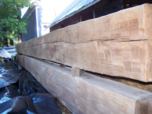Huge timbers from 1800s historic home