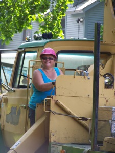 Vermont Jeep Girl Sue helps us move the historic timber frame