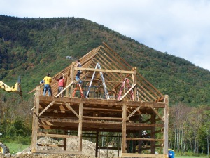 Vermont Timber Framing with Mount Equinox in Background