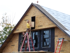 Installing the birdbox in the timber frame barn