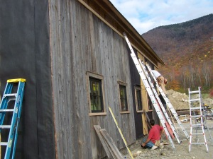 Siding on Manchester Timber Frame Barn Frame