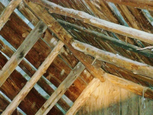 Gunstock 5 sided ridge beam in timberframe