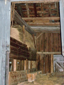 Interior of 19th Century New England Timber Frame Barn