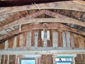 Domed Ceiling in Bedroom of Timber Frame
