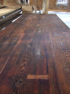 Restored wide board flooring