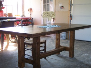 Restored wood used as a table in modern home