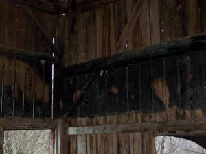 Lightning strike on historic old barn