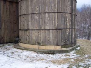 Restored timber frame silo in Vermont