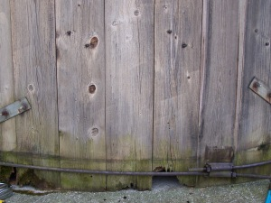 Rotting timbers in silo - historic properties in New England