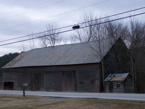 Slate roof on Old Barn in New England