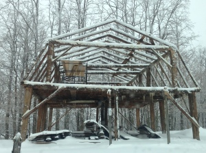 Gambrel Roof Timber frame in New England Snow