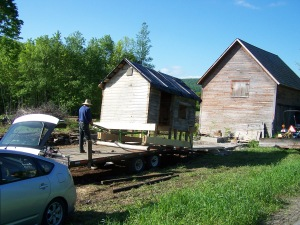 Placing the antique barn in its new home