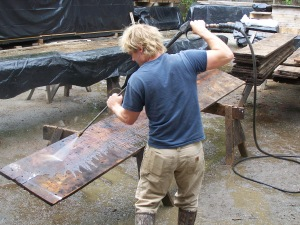 Washing vintage wood boards
