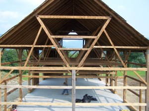Interior Restored Barn Frame with Mount Mansfield