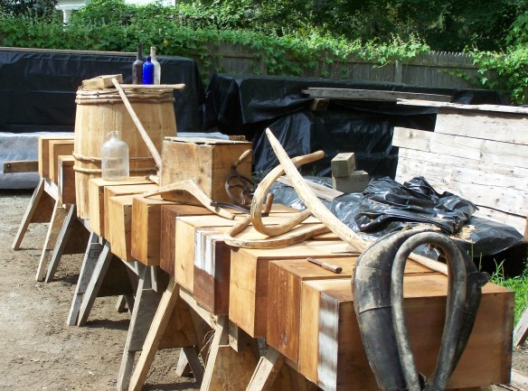 Various contents of timber frame shipped with frame