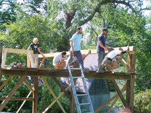 crew of timber frame barn