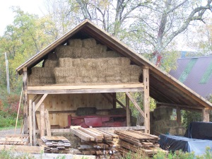 second floor of hay barn in use