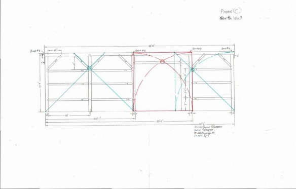 Final drawing of timber frame historic geometry
