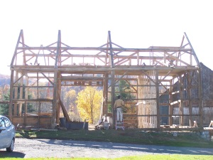 North side view of timber frame