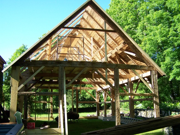Test Barn Raising of Timber Frame Barn Home