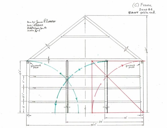 east wall timber frame geometry