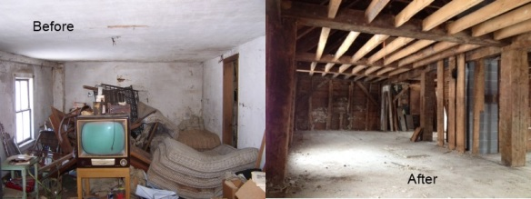 Before and After Clean Up of Barn