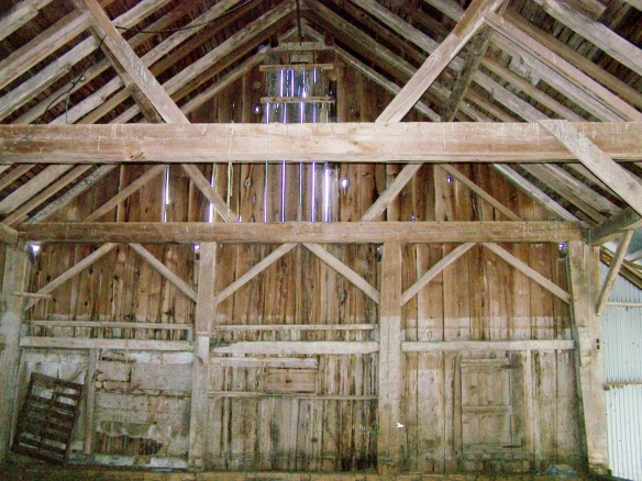 Gable wall section of timber frame