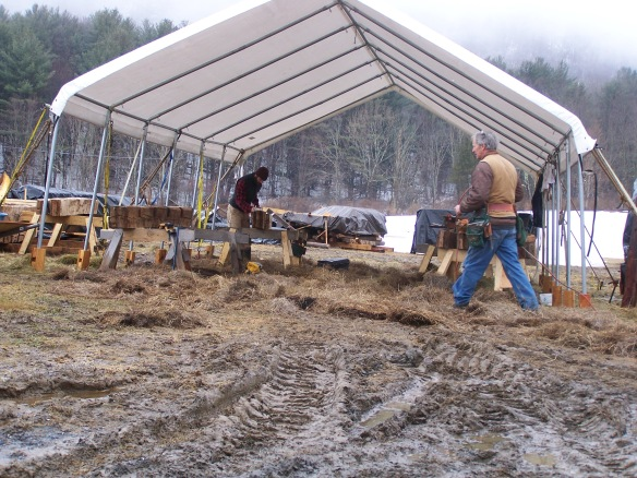 Timber Framing in the Mud Vermont