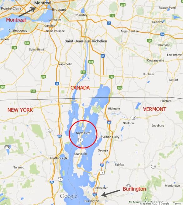 Map of North Hero Island Lake Champlain