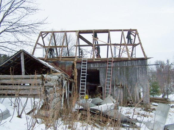 Removing Roof of timber frame barn home