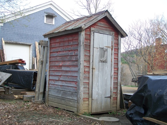 antique vermont timber frame outhouse