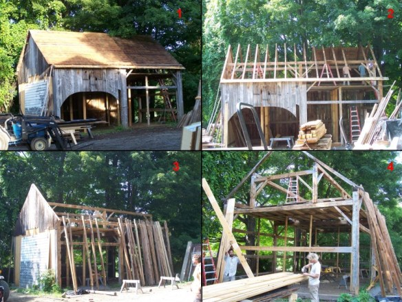 Dismantling of timber frame barn