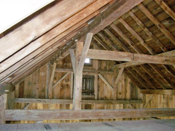 Loft view of restored historic barn home_Green Mountain Timber Frames_Vermont