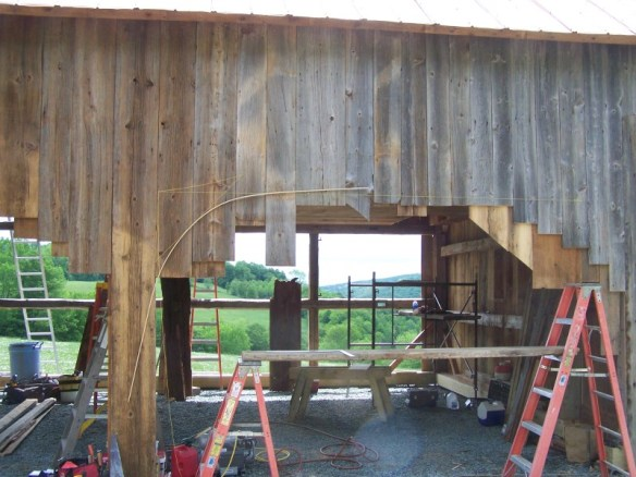 Forming the arch on a historic barn_Green Mountain Timber Frames