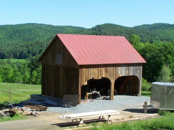 Forming the arch on a historic barn_Green Mountain Timber Frames2