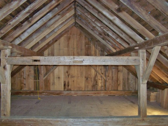 hand hewn timber frame wooden beams