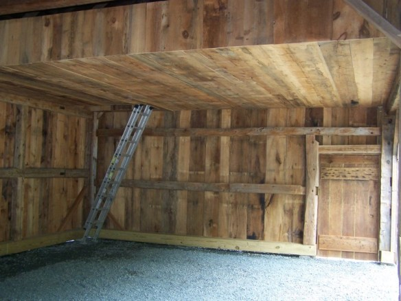 Internal view of timber frame barn